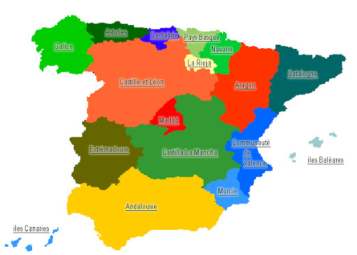 carte des regions d'espagne