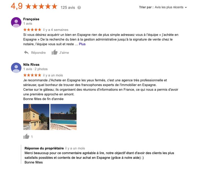 Avis Google pour Investir à Valence