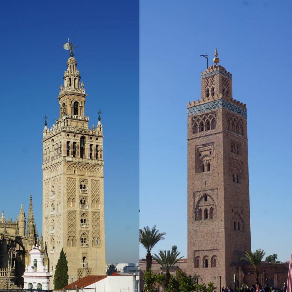 Giralda de Séville et Koutoubia de Marrakech