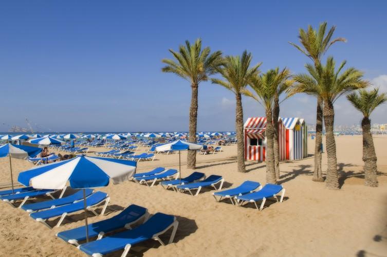 parasols et transats sur la plage 7 mares