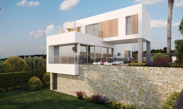 Façade de la villa de luxe à Algorfa